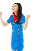 Stewardess celebrating success — Stock Photo