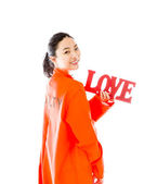 "Red ""LOVE"" text — Stock Photo"
