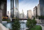 Bridge across a river in a city, La Salle Street Bridge, Chicago — Stock Photo