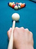 Snooker player opening shot — Stock Photo