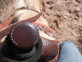 Close up of saddle of a horse — Stok fotoğraf
