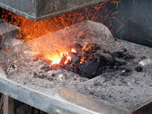 Forge in workshop of blacksmith — Stock Photo