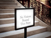 "Signboard  ""No Visitors Beyond This Point"", — Stock Photo"