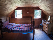 Interiors of a log cabin — Stock Photo