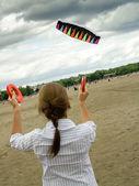 Woman paragliding — Stock Photo