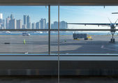 City viewed through an airport — Stock Photo