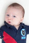 Baby boy puckering — Stock Photo