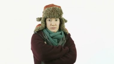 Caucasian girl with winter clothes — Stock Video