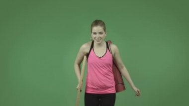 Sporty girl injured with crutch — Stock Video