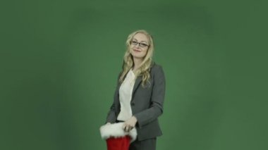 Businesswoman in a christmas party — Stock Video