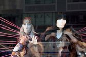 Mannequins wearing fur coats — Stock Photo