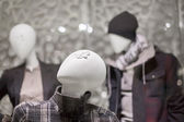 Mannequins wearing jackets in a clothing store — Stock Photo