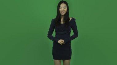 Girl in evening dress talking interview — Stock Video