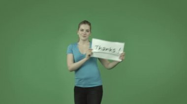 Casual girl grateful with thanks sign — Stock Video