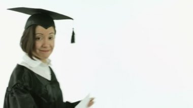 Smiling student with blank sign — Stock Video