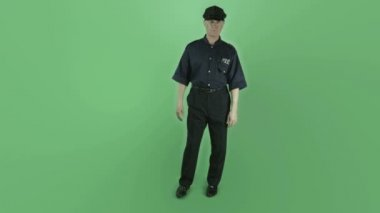 Vintage policeman is upset — Stock Video