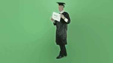 Graduate man holding help sign — Stock Video