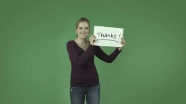Girl grateful with thanks sign — Stock Video