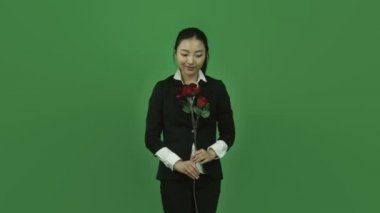Happy woman with rose — Stock Video