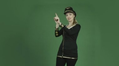 Air hostess demonstrating safety — Stock Video