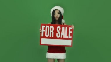 Girl with consumerism for sale — Stock Video