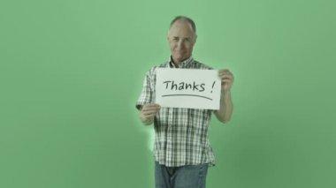 Senior man grateful with thanks sign — Stock Video