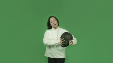 Fencing with sword girl talking interview — Stockvideo