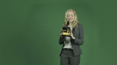 Businesswoman with camera — Stock Video