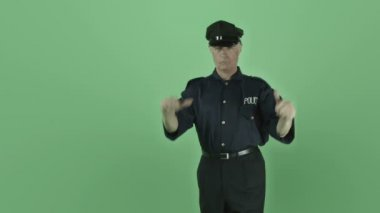 Vintage policeman with thumbs up sign — Stock Video