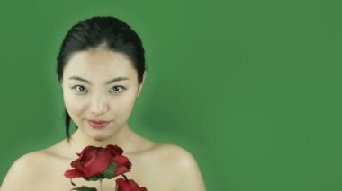 Girl naked beauty with romance rose — Stock Video