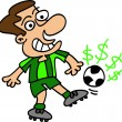 Football player tapping a ball — Imagen vectorial