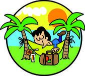 Uomo in vacanze — Vettoriale Stock