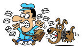 Postman followed by a dog — Stock Vector