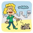 Woman walking dog — Stock Vector #30883575
