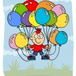 boy with balloons — Stock Vector