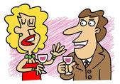 Mujer hablando con un hombre — Vector de stock