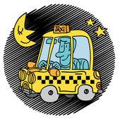 Uomo che guida un taxi — Vettoriale Stock