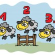 Sheep jumping over fence — Vector de stock #31345857