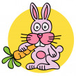 Stock Vector: Pink rabbit