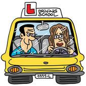 Driving school car — Stock Vector