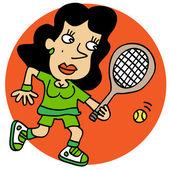 Kobieta grająca w kort tenisowy — Wektor stockowy