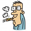 Man with glasses smoking a cigar — Stock Vector