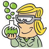 Chemical girl with test tube and green bubbles — Stock Vector