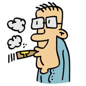 Uomo con gli occhiali, fumando un sigaro — Vettoriale Stock