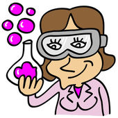 Chemical girl with test tube and pink bubbles — Stock Vector