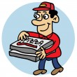 Delivering a pizza at home — Stock Vector
