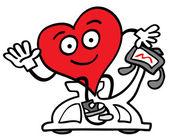 Heart training on a bike machine — Stock Vector