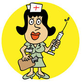 Cute nurse with syringe and clipboard — Stock Vector