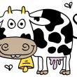 Weird cow with flies — Stock Vector
