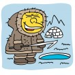 Stock Vector: Friendly eskimo